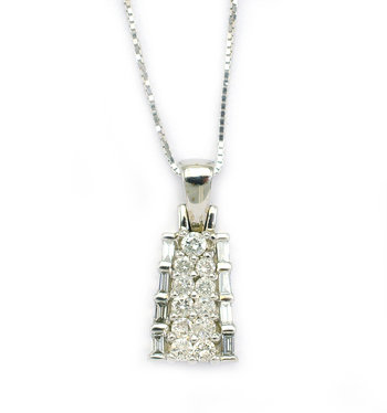 14K White Gold 3.25 Grams Baguette and Round Diamond Pendant With Gold Chain