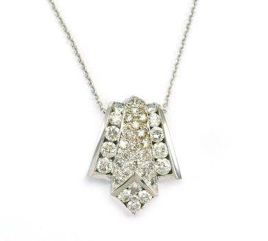 14K White Gold 7.20 Grams Diamond Pendant With Gold Chain