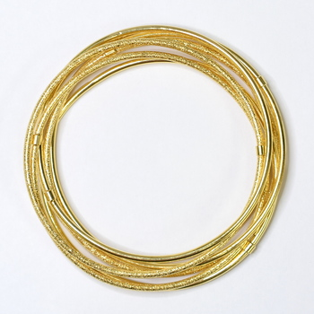 14K Yellow Gold 16.05 Grams Nugget Style Seven Days Bangle Bracelet