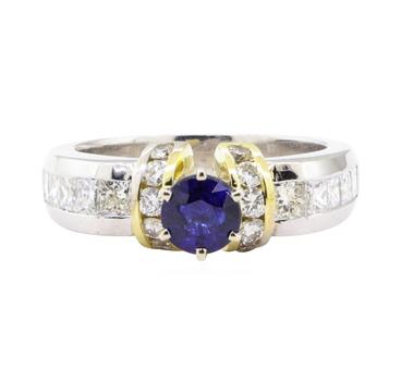 18K Platinum & Yellow Gold 10.90 Diamond Ring w/ Sapphire Center Stone