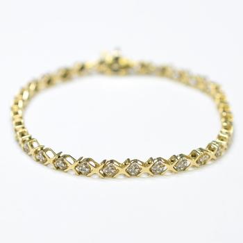 14K Yellow Gold 7.76 Grams Diamond Lady's Bracelet