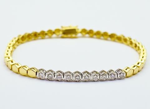 14K Yellow Gold 13.57 Grams Hexagon Shape Diamond Lady's Bracelet