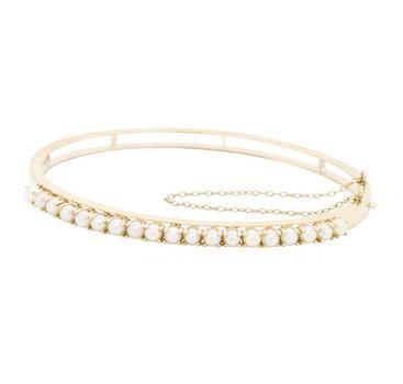14K Yellow Gold 11.00 Grams Pearl Bangle Bracelet