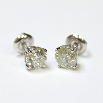 14K White Gold 1.40 Grams 1.69 Carats t.w. Round Diamond Stud Style Earrings