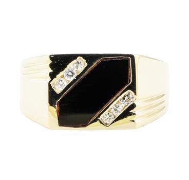 14K Yellow Gold 8.73 Diamond Ring w/ Onyx Center Stone