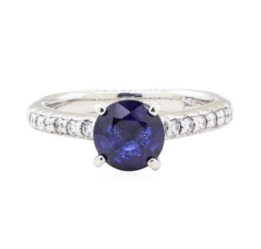 14K White Gold 3.87 Grams Diamond Ring w/ Sapphire Center Stone