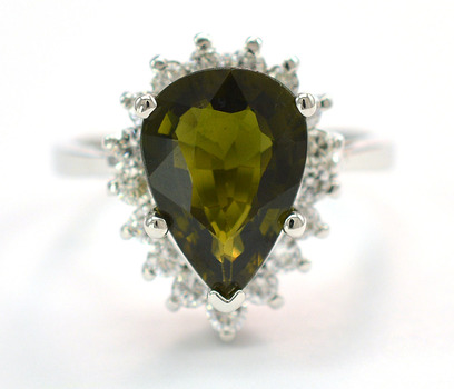 14K White Gold 6.14 Grams Pear Shape Halo Style Ring With 3.23 Carats Green Tourmaline Center Stone