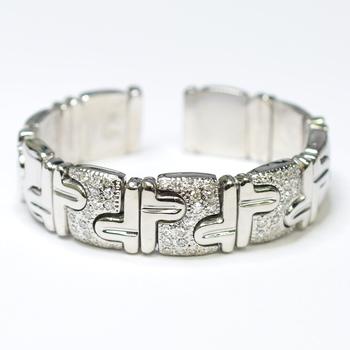 18K White Gold 63.76 Grams Diamond Link Style Cuff Bangle Bracelet