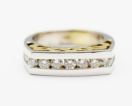 14K Two Tone Gold 7.72 Grams 1.08 Carats t.w. Diamond Channel Set Ring