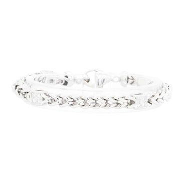 14K White Gold 20.10 Grams 0.50 Carat t.w. Diamond Link Chain Bracelet
