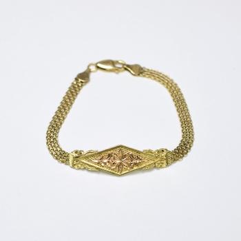 14K Two Tone Gold 8.30 Grams Mesh Design Bracelet