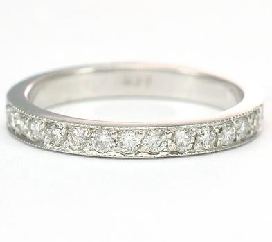 14K White Gold 2.70 Grams 0.50 Carat t.w. Diamond Pave Set Diamond Lady's Band