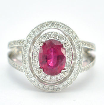 18K White Gold 8.70 Grams Double Halo Style Diamond Split Shank Ring With 1.67 Carats Natural Ruby Center Stone