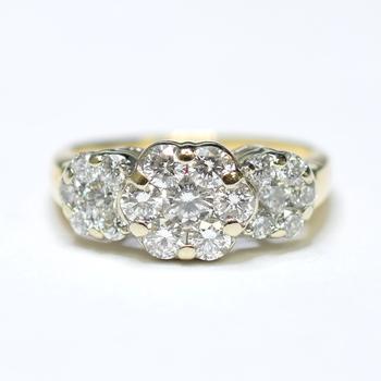 14K Yellow Gold 4.50 Grams Flower Cluster Style Diamond Ring