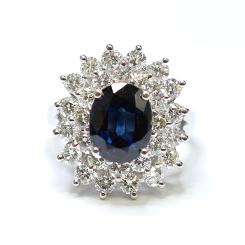 14K White Gold 6.80 Grams Double Halo Style Diamond Ring With Sapphire Center Stone