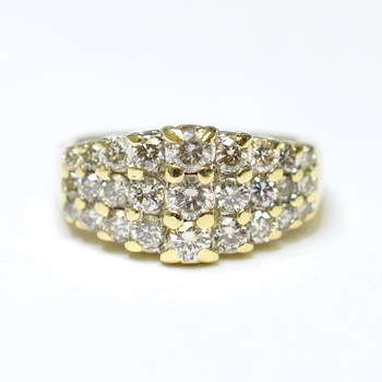 14K Yellow Gold 7.30 Grams Three Row Design Diamond Ring