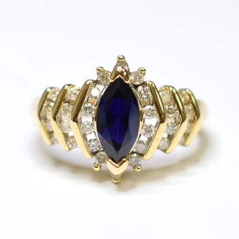 10K Yellow Gold 5.20 Grams Sapphire and Diamond High Polished Ring