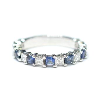 14K White Gold 3.10 Grams Sapphire and Diamond Ring