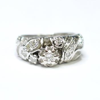 14K White Gold 5.70 Grams Diamond Lady's Ring