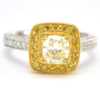 18K Two Tone Gold 7.00 Grams Cushion Halo Style Ring With Fancy Yellow Diamond Center Stone