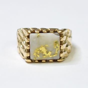 14K Yellow Gold 19.80 Grams Nugget Design Men's Ring