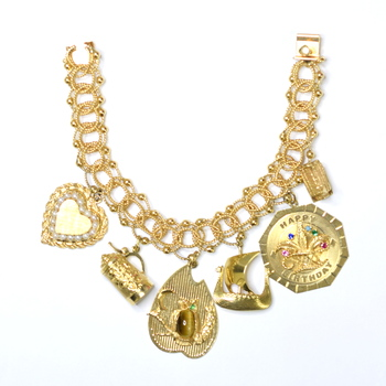 14K Yellow Gold 52.50 Grams Charm Bracelet With Colored Stones and Pearl