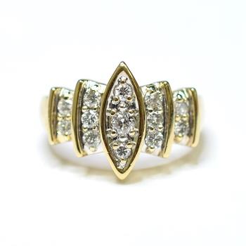 14K Yellow Gold 5.10 Grams 1.00 Carats t.w. Diamond Pave Set Ring