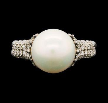 David Yurman 925 Silver Diamond Lady's Ring With Pearl Center