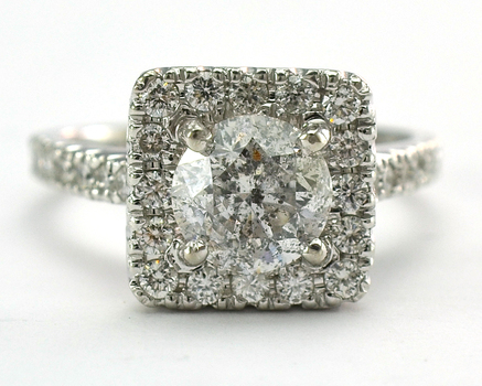 14K White Gold 4.70 Grams 0.64 Carat t.w. Diamond Halo Style Ring With 1.33 Carats t.w. Round Brilliant Diamond Center Stone