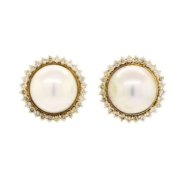 14K Yellow Gold 15.40 Grams Halo Style Diamond Earrings With Mabe Pearl Center