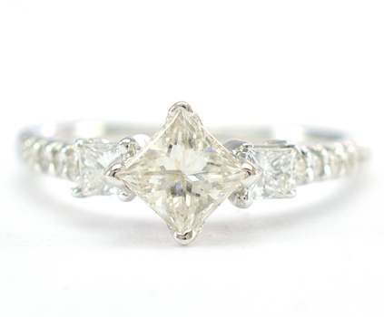 14K White Gold 2.80 Grams 1.14 Carats t.w. Princess and Round Diamond Lady's Ring