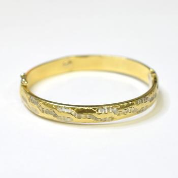 14K Two Tone Gold 11.70 Grams Diamond Cut Design Bangle Bracelet