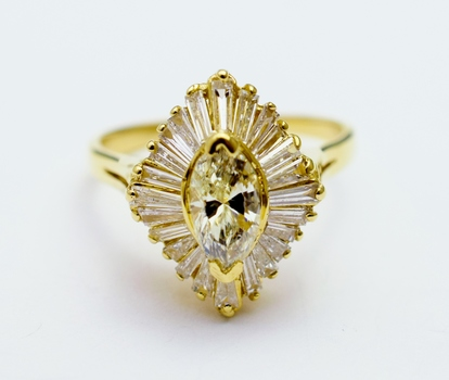 14K Yellow Gold 4.17 Grams Baguette Cut Diamond Ring With Marquise Cut Center Stone