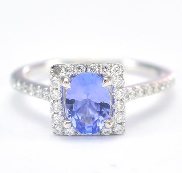 14K White Gold 2.95 Grams Halo Style Diamond Ring With Tanzanite Center Stone