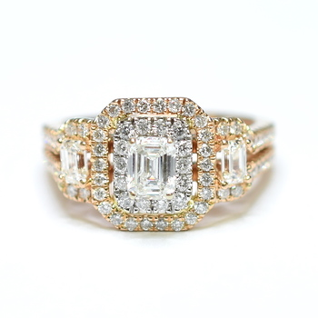 14K Two Tone Gold 6.50 Grams 1.25 Carats t.w. Double Halo Style Diamond Split Shank Ring