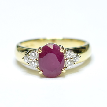 14K Yellow Gold 3.90 Grams Ruby and Diamond Ring