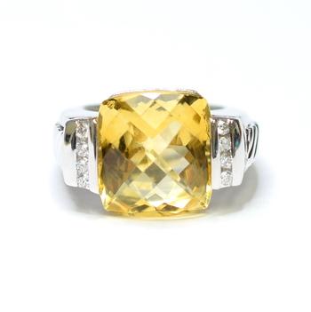 14K White Gold 15.80 Grams Citrine and Diamond Ring