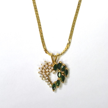 14K Yellow Gold 6.30 Grams Emerald and Diamond Heart Pendant With Gold Chain