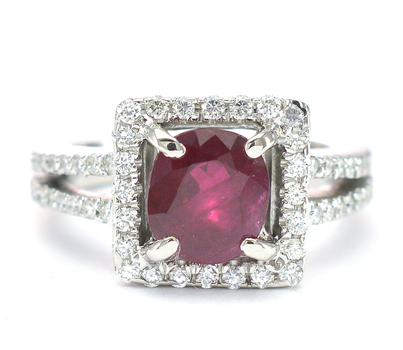 14K White Gold 5.76 Grams Diamond Square Halo Style Ring With 1.67 Carats t.w. Ruby Center Stone