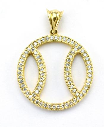 14K Yellow Gold 5.50 Grams 1.00 Carat t.w. Diamond Basketball Design Pendant