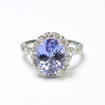 14K White Gold 4.90 Grams Halo Style Diamond Ring With Tanzanite Center Stone