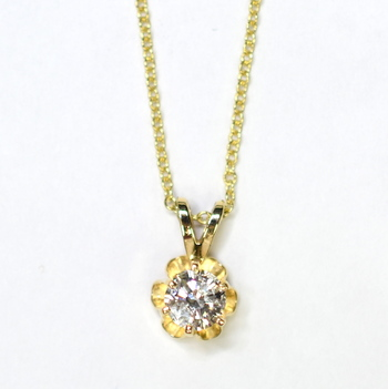 14K Yellow Gold 1.50 Grams Round Diamond Pendant With Gold Chain