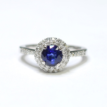 14K White Gold 4.20 Grams Double Halo Style Diamond Ring With Sapphire Center Stone
