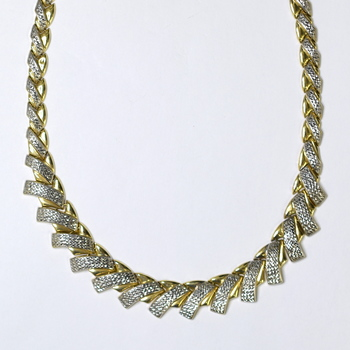 18K Two Tone Gold 27.40 Grams Diamond Cut Design High Polished Necklace