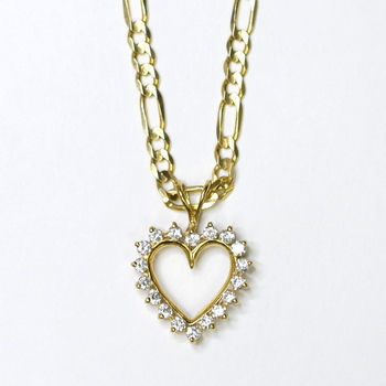 14K Yellow Gold 15.80 Grams Link Chain Necklace With 10K Yellow Gold CZ Heart Pendant