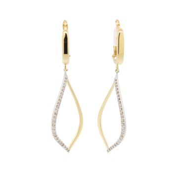 14K Two Tone Gold 3.30 Grams Diamond Dangle Earrings
