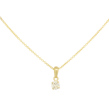 14K Yellow Gold 1.40 Grams Round Diamond Solitaire Pendant With Gold Chain