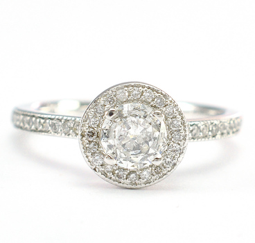 14K White Gold 2.80 Grams Diamond Halo Style Lady's Ring
