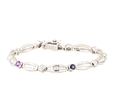 14K White Gold 12.60 Grams Diamond and Colored Stone Tennis Bracelet