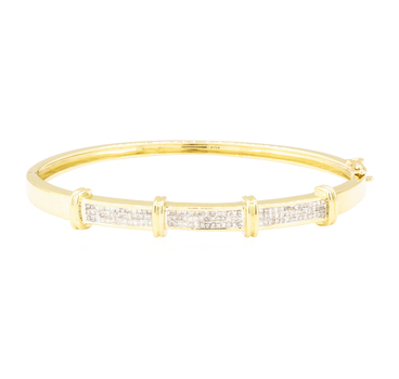 14K Yellow Gold 17.80 Grams Diamond Bangle